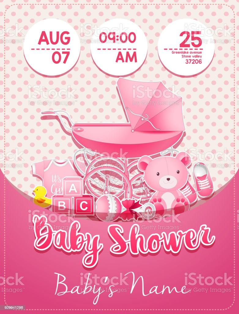 Baby Shower Girl Invitation Template With Toys Stock Vector Art