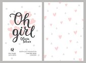 Baby shower girl poster, vector template. Shower pastel cards with hearts and hand drawn text on white background