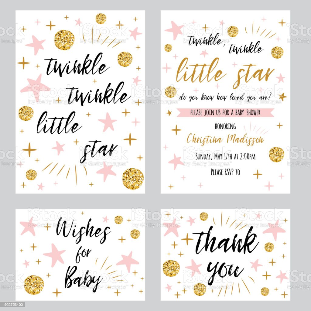 Baby shower girl templates Twinkle twinkle little star text with gold polka dot pink star invtation thank you card vector art illustration