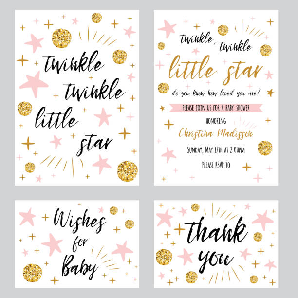 baby shower girl templates twinkle twinkle little star text with gold polka dot pink star invtation thank you card - маленький stock illustrations