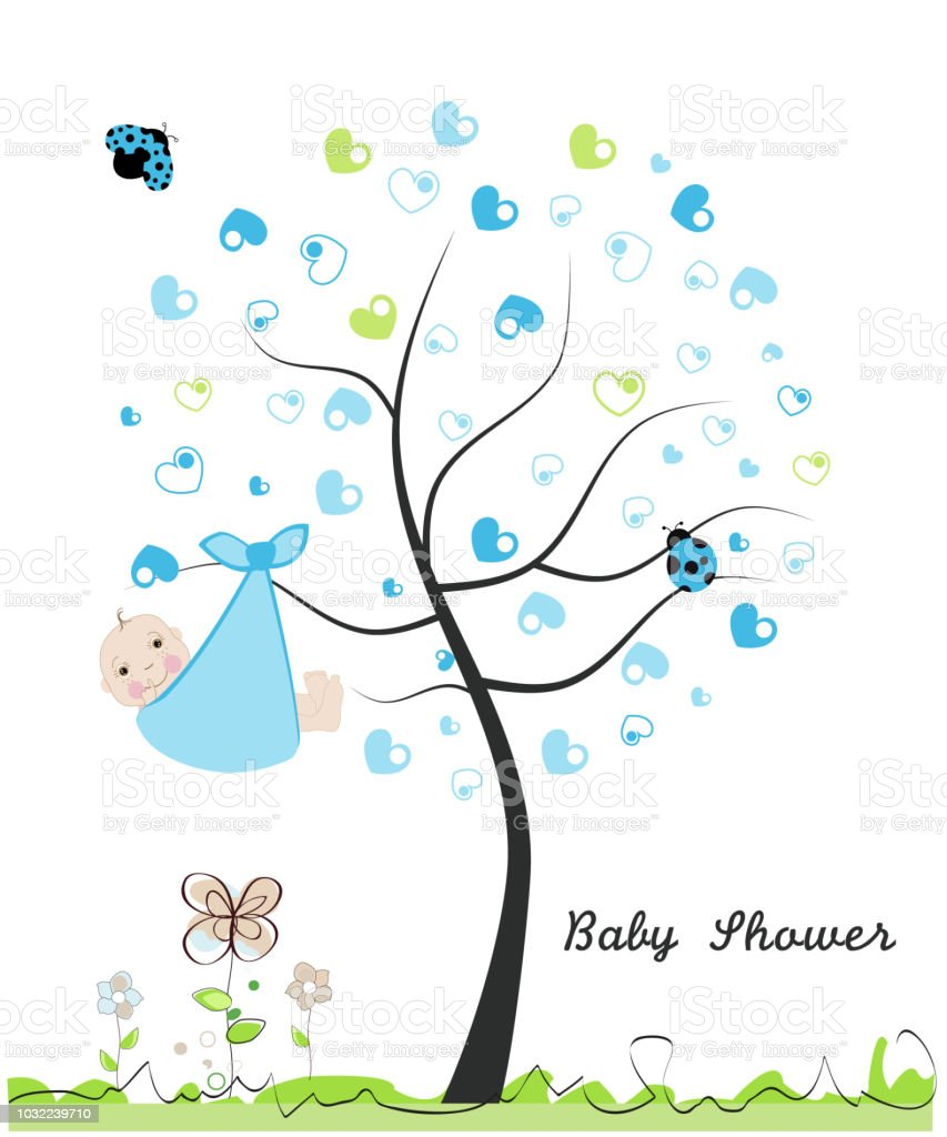 Baby shower greeting card baby boy made of heart tree doodle flowers baby shower greeting card baby boy made of heart tree doodle flowers m4hsunfo