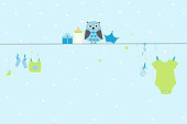 Baby shower greeting card. Baby boy symbols with owl
