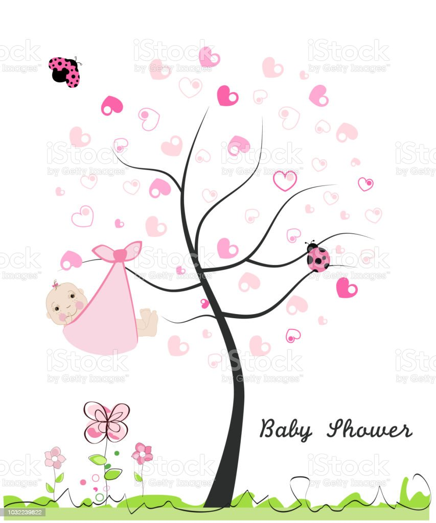 Baby shower greeting card baby girl made of heart tree doodle baby shower greeting card baby girl made of heart tree doodle flowers m4hsunfo