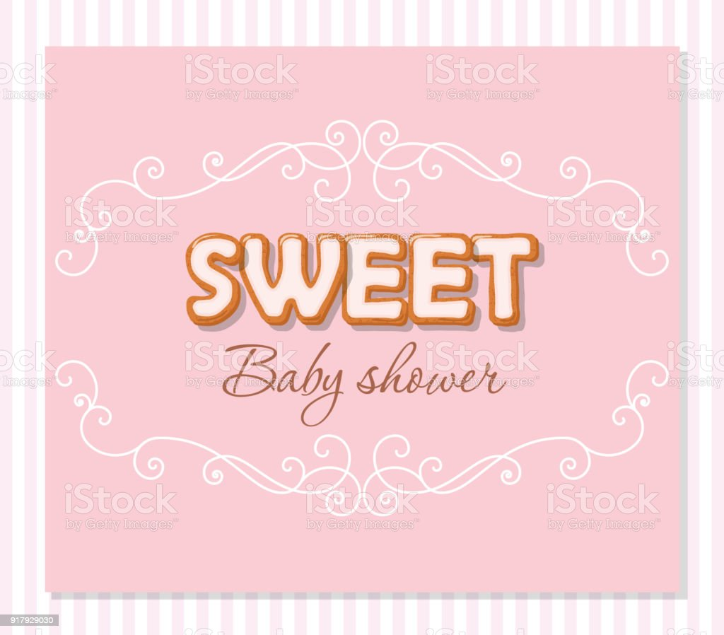 Baby Shower Greeting Card For Girls Elegant Frame With Sweet Letters ...