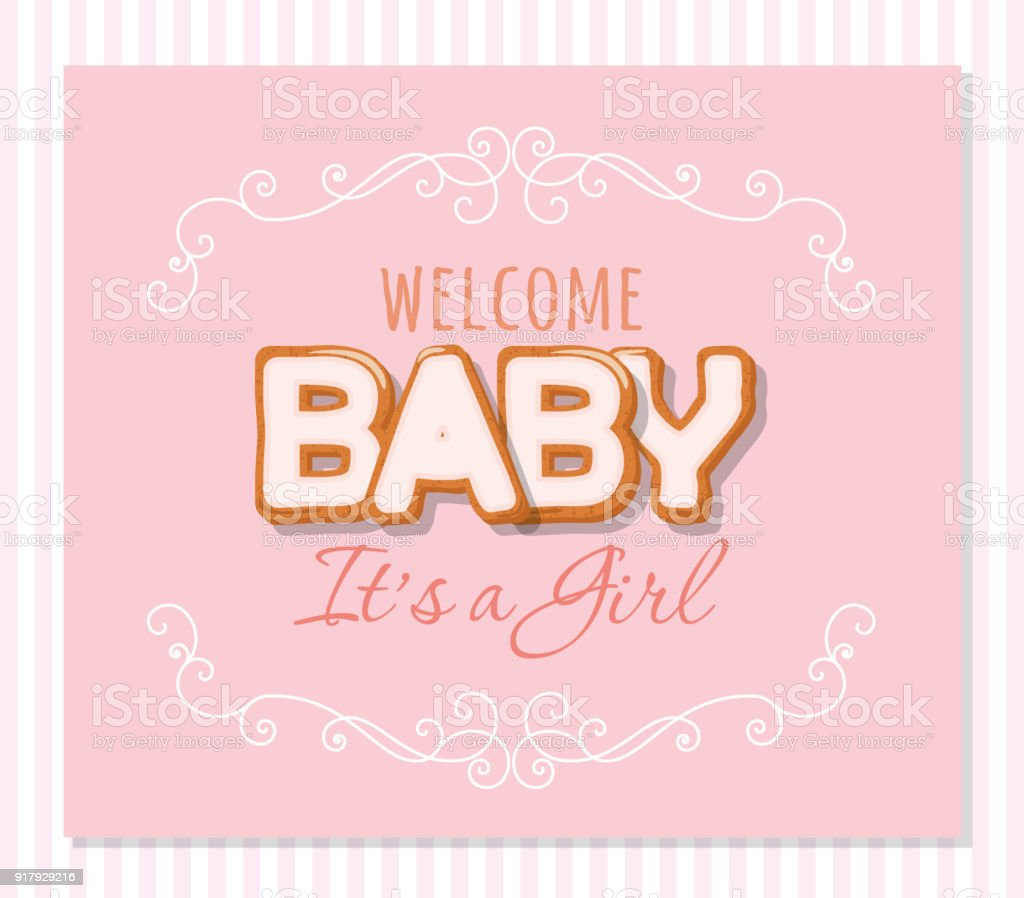 Baby Shower Greeting Card For Girls Elegant Frame With Sweet Letters