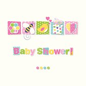 illustration of patterned flower, bumble bee, bird, present and heart on rectangular backgrounds with colorful baby shower text