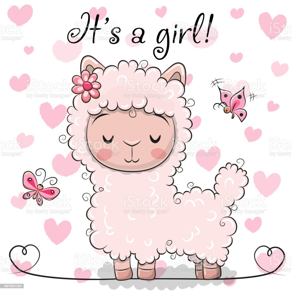 Baby shower greeting card with alpaca girl stock vector art more baby shower greeting card with alpaca girl royalty free baby shower greeting card with alpaca m4hsunfo