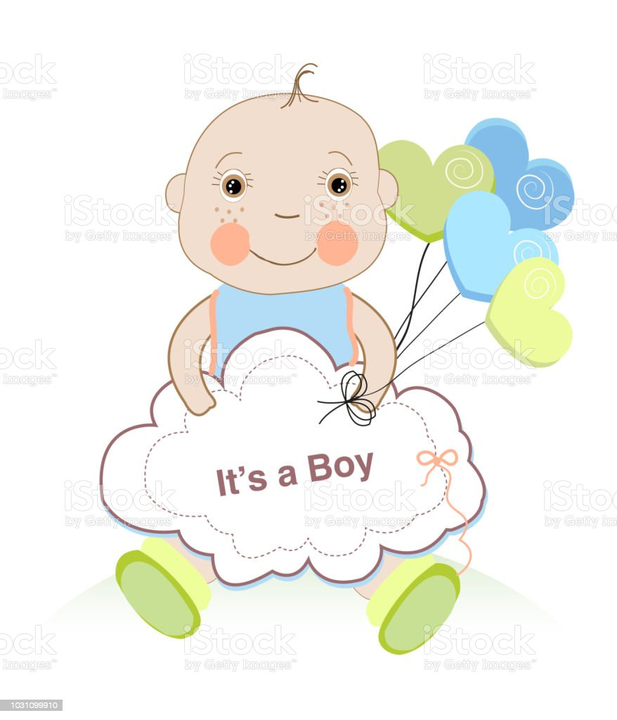Baby shower greeting card with baby boy and hearts balloon stock baby shower greeting card with baby boy and hearts balloon royalty free baby shower greeting m4hsunfo