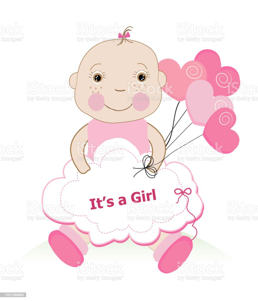 Baby shower greeting card with baby girl and hearts balloon stock baby shower greeting card with baby girl and hearts balloon royalty free baby shower greeting m4hsunfo