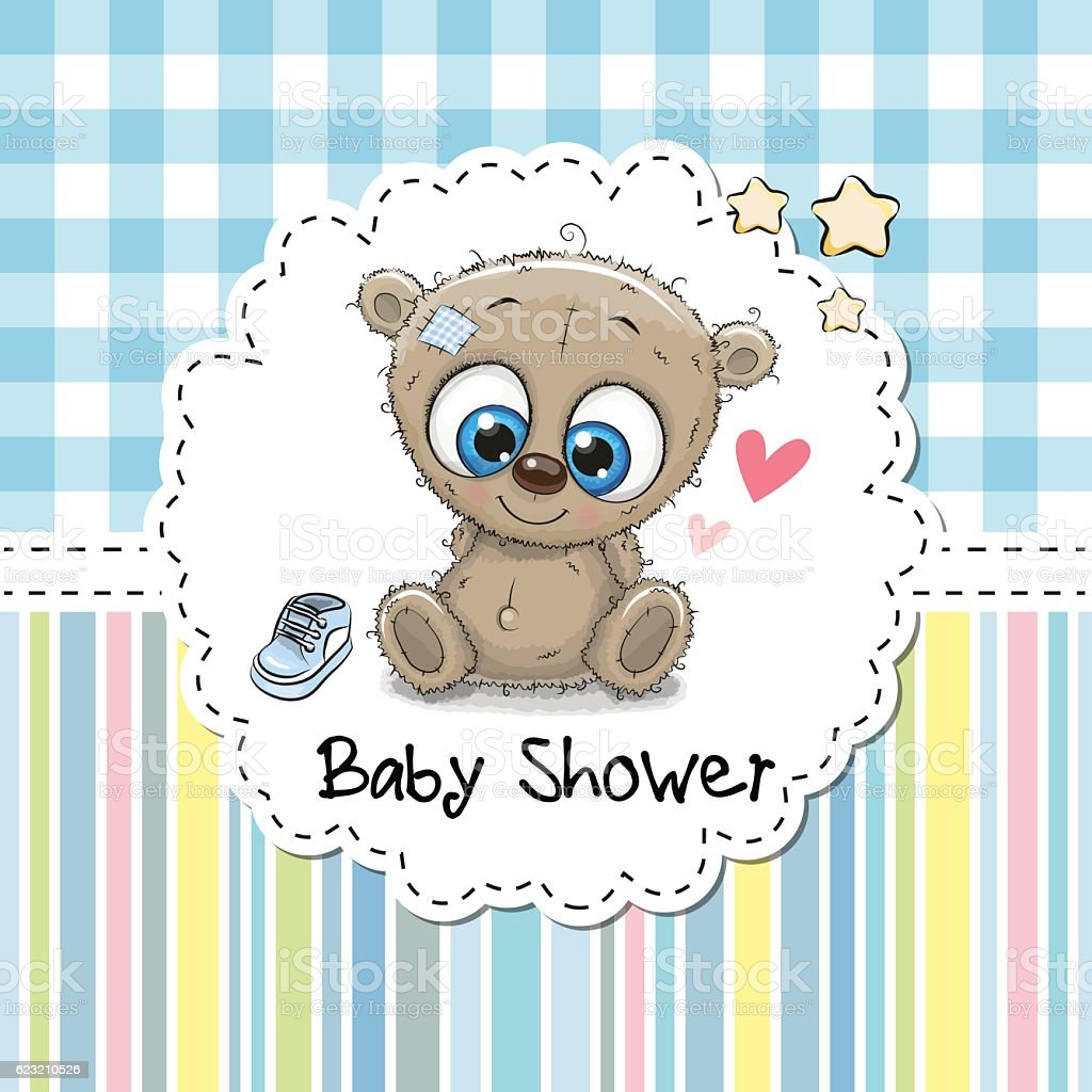Baby Shower Greeting Card With Bear Cliparts Vectoriels Et Plus D