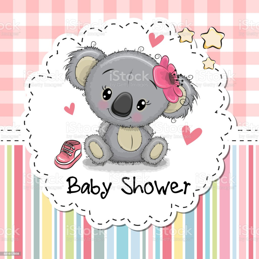 Baby Shower Greeting Card with Cartoon Koala girl vector art illustration