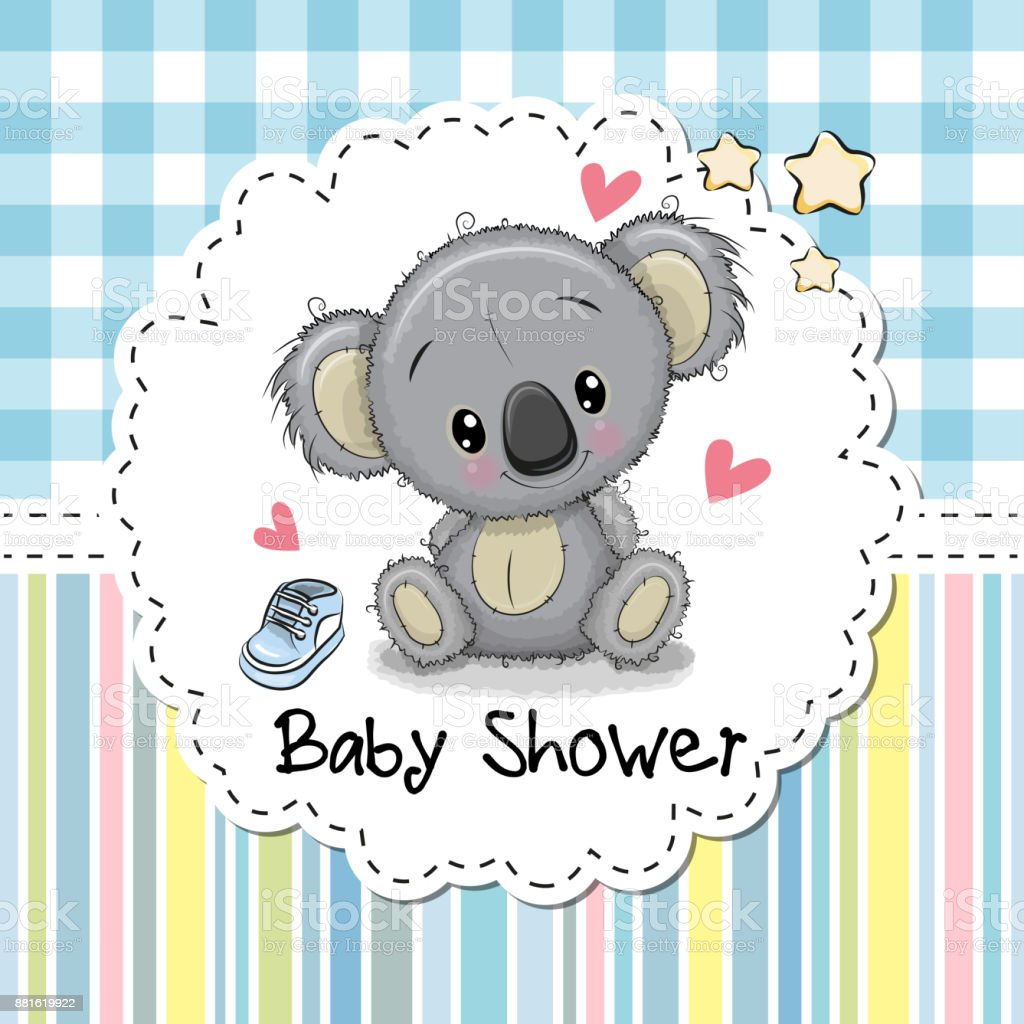 Baby Shower Greeting Card with Cartoon Koala vector art illustration