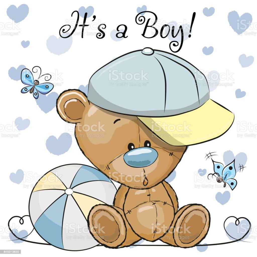 Baby Shower Greeting Card With Cute Teddy Bear Boy Stock Vector Art