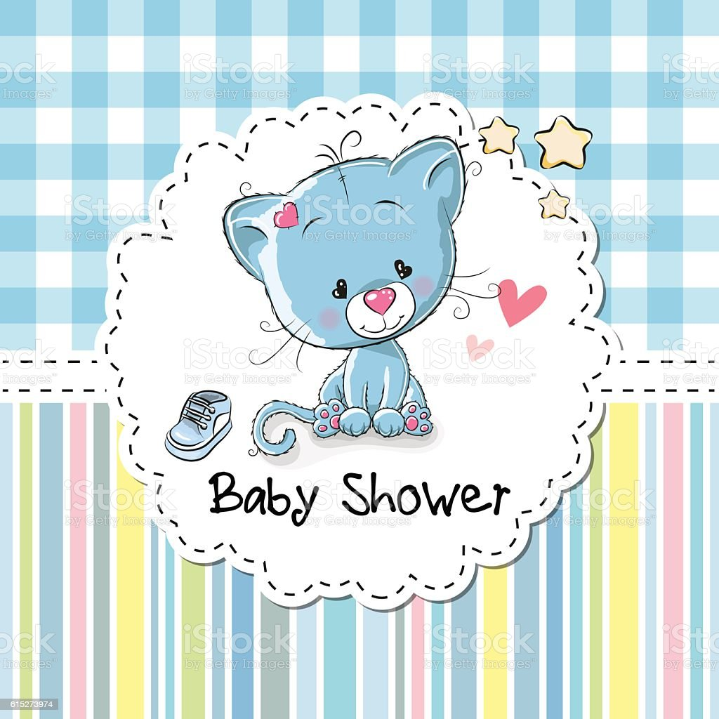 Baby Shower Greeting Card With Kitten Royalty Free Stock Vector Art