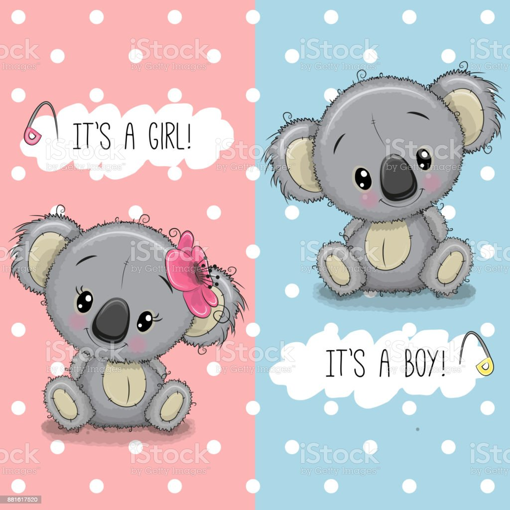 Baby Shower greeting card with Koalas boy and girl vector art illustration