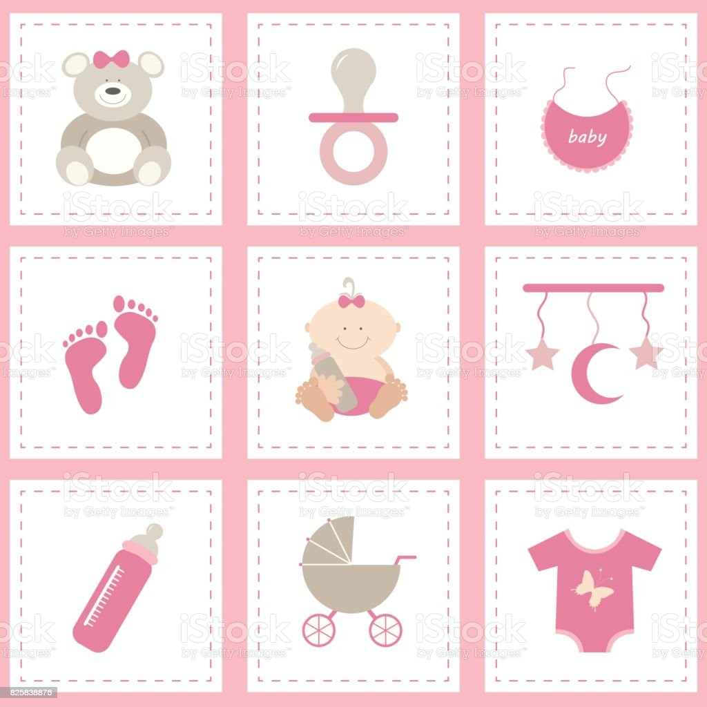 Baby shower icons set, girl pink. Flat vector design.