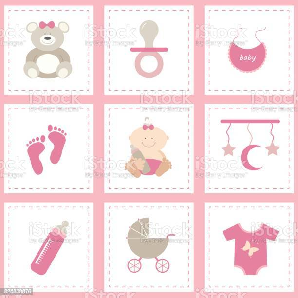 Baby shower icons set girl pink flat vector design vector id825838876?b=1&k=6&m=825838876&s=612x612&h=ucx1cvbpvh xcsxxt3bk2fehk8r423dtznyvelxuikc=