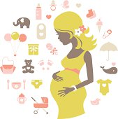 Silhouette of a beautiful pregnant woman with baby themed icons. Illustrator 10 compatible EPS file. Global color swatches for easy color changes.