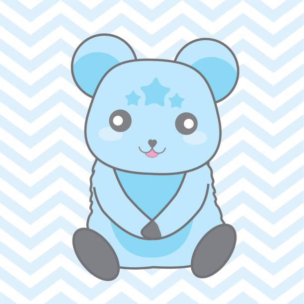 Baby shower illustration with cute blue bear on blue chevron background suitable for baby boy invitation card Baby shower illustration with cute blue bear on blue chevron background suitable for baby boy invitation card, nursery wall, and postcard bedroom borders stock illustrations