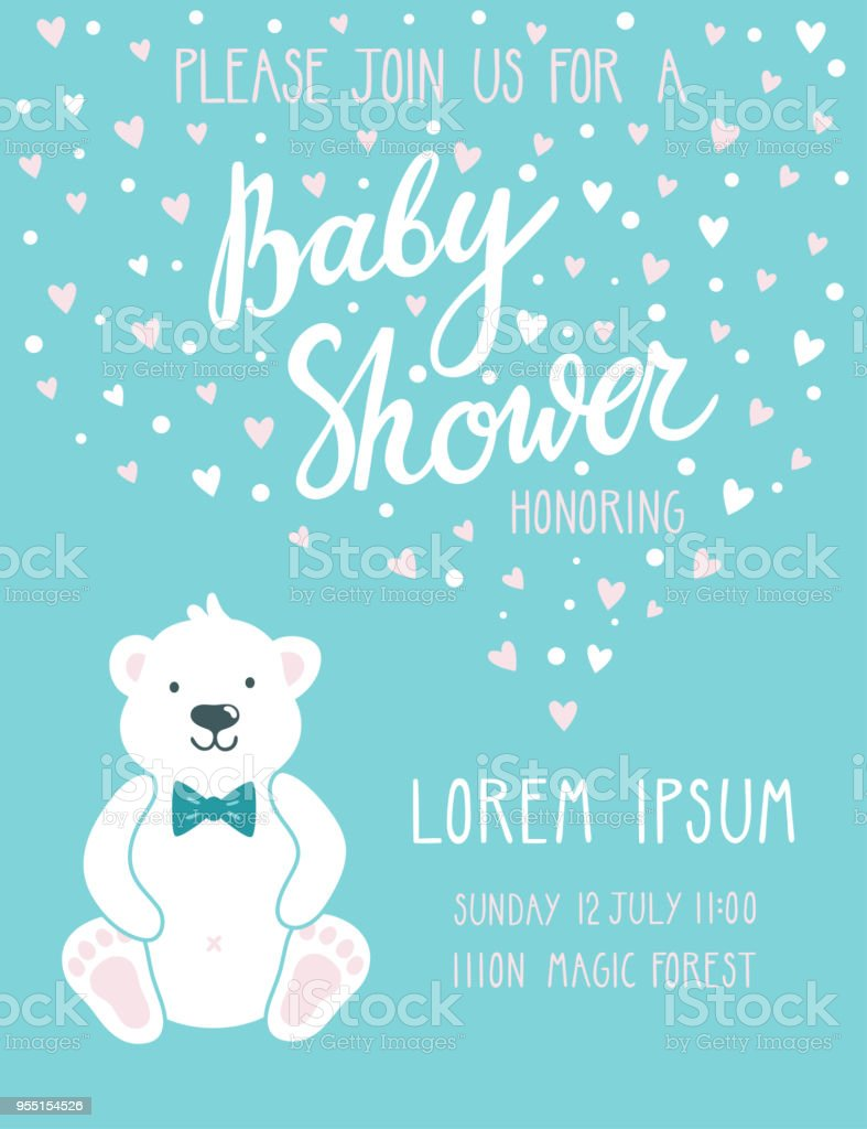 Baby shower invitation card cute childish background with polar bear baby shower invitation card cute childish background with polar bear and beautiful hand written text filmwisefo