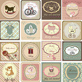 Baby shower invitation card set in vintage style