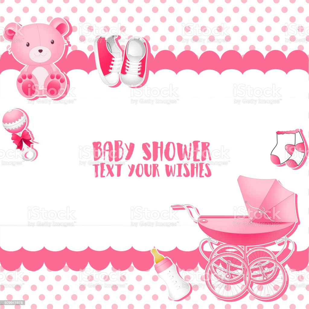 Baby Shower Invitation Card Template Place For Text Stock Vector Art