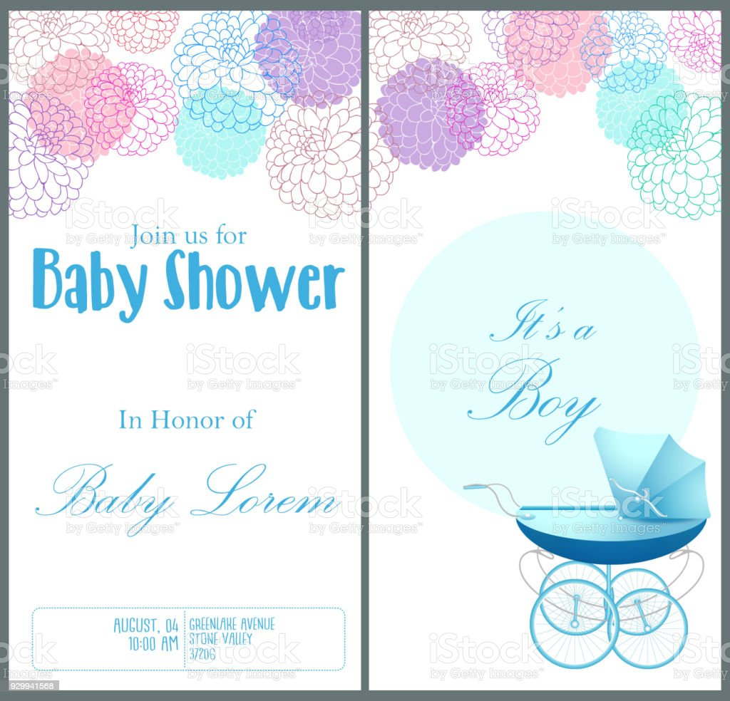 baby shower invitation card template stock vector art more images