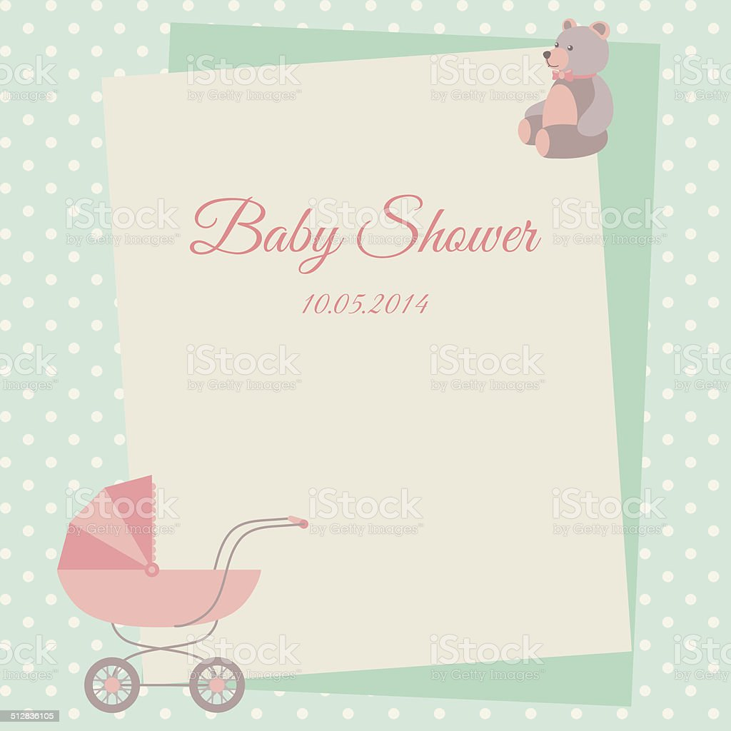 Baby Shower Invitation Card Template With Stroller And Teddy Bear ...