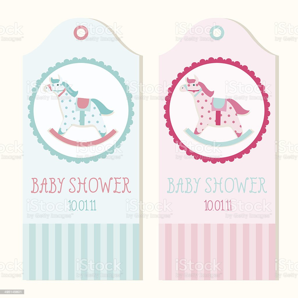 Baby Shower Invitation Card Templates With Rocking Horse Stock