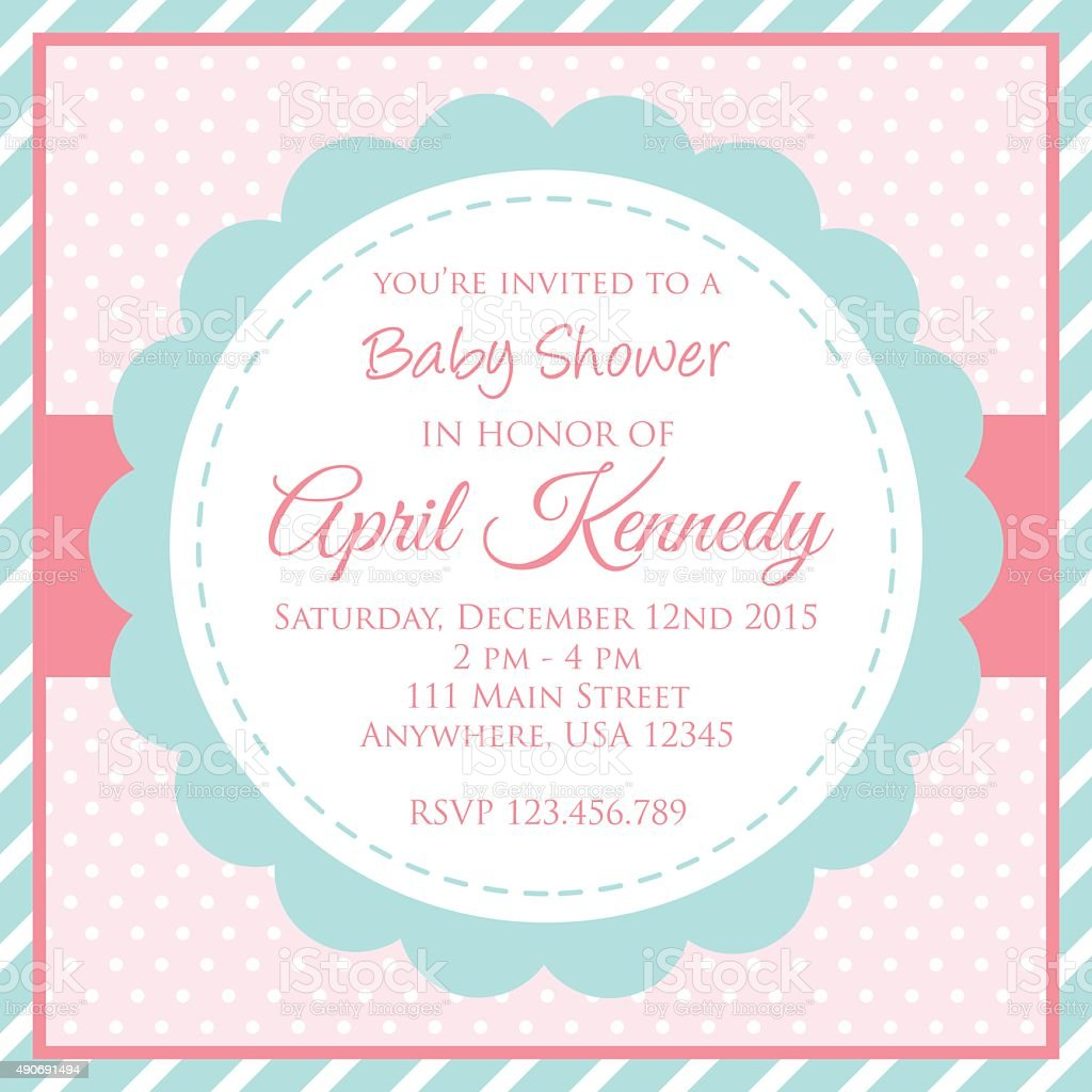 Baby Shower Invitation Card Stock Vector Art & More Images of 2015 ...