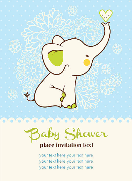 baby shower invitation card. - elephant stock illustrations