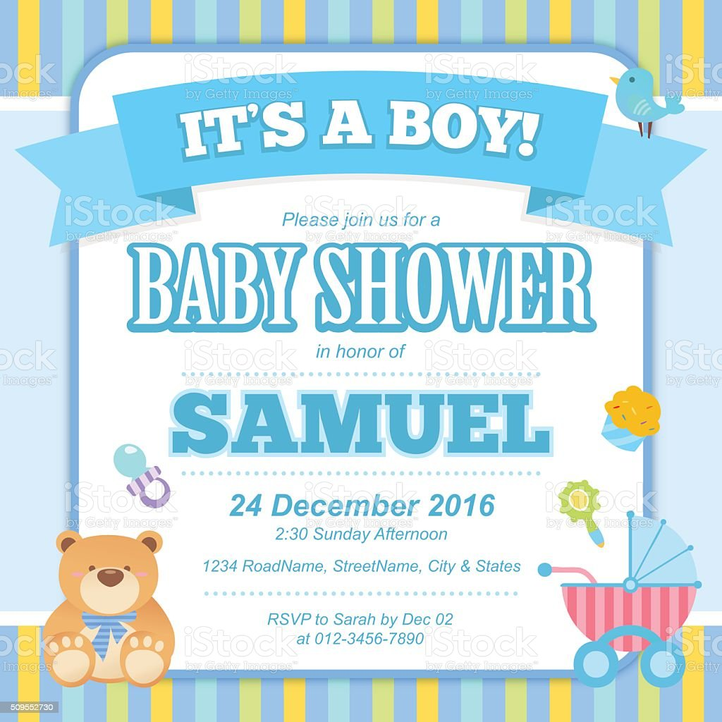Baby Shower Invitation Card (Boy) vector art illustration