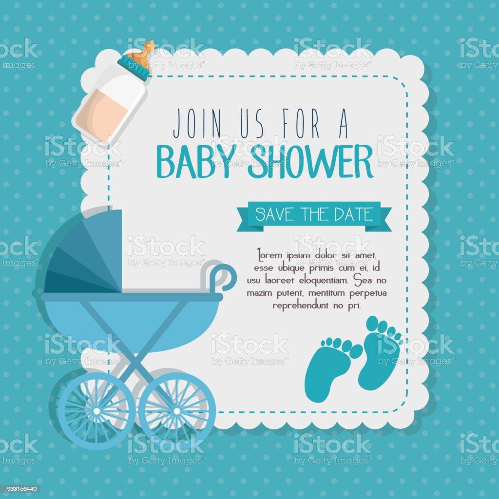Baby Shower Invitation Card Stock Illustration Download