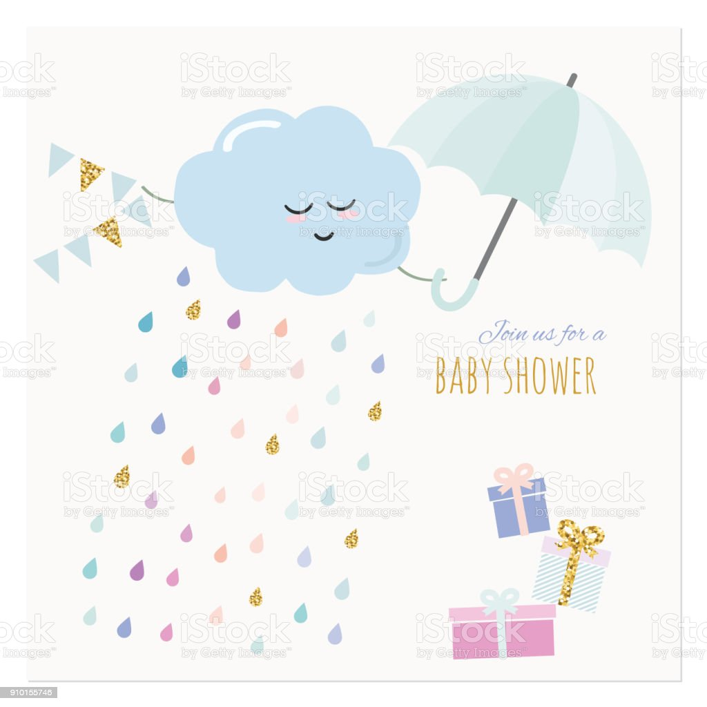 14e832446 Baby Shower Invitation Card Watercolor Cartoons With Glitter ...