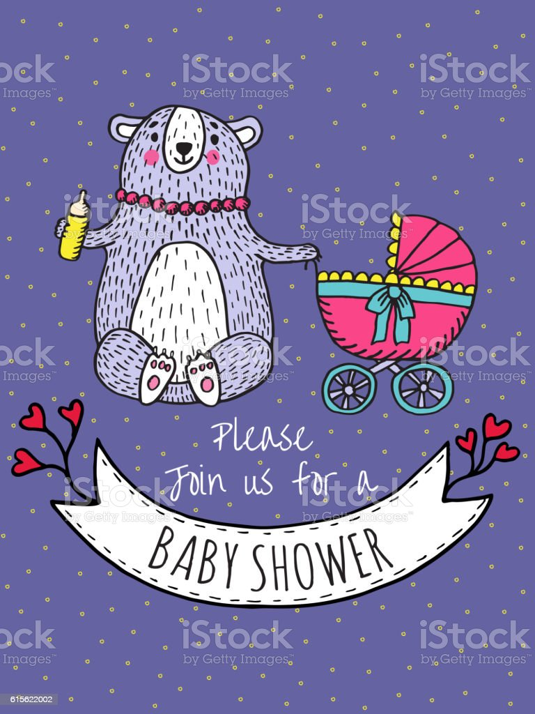 Baby shower invitation card with bear mother vector art illustration