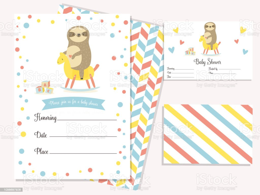 Baby Shower Invitation Card With Cute Sloth Riding The