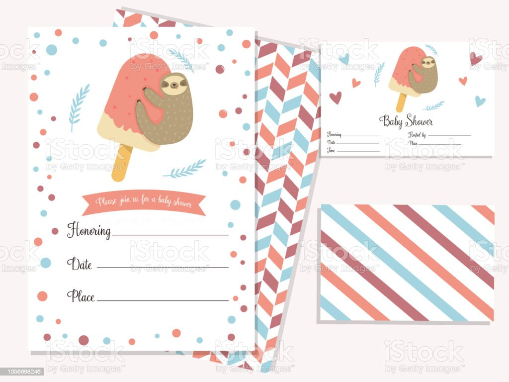 baby shower invitation card with cute sloth template birthday card