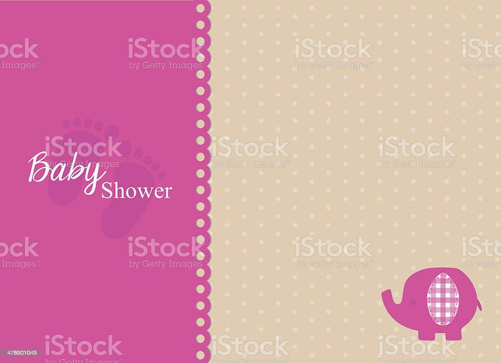 Baby Shower Invitation Card With Fuchsia Elephant Stock Vector Art