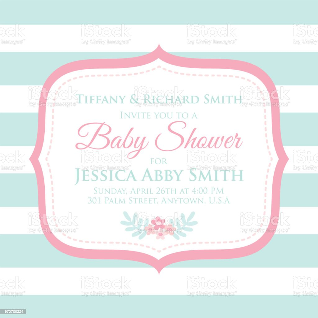 Baby Shower Invitation Card With Modern Style Design Stock Vector ...