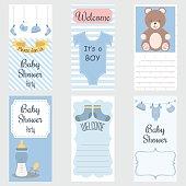Baby Shower Invitation Card.It's a Boy.Baby Shower Greeting Card.Baby Boy Shower set