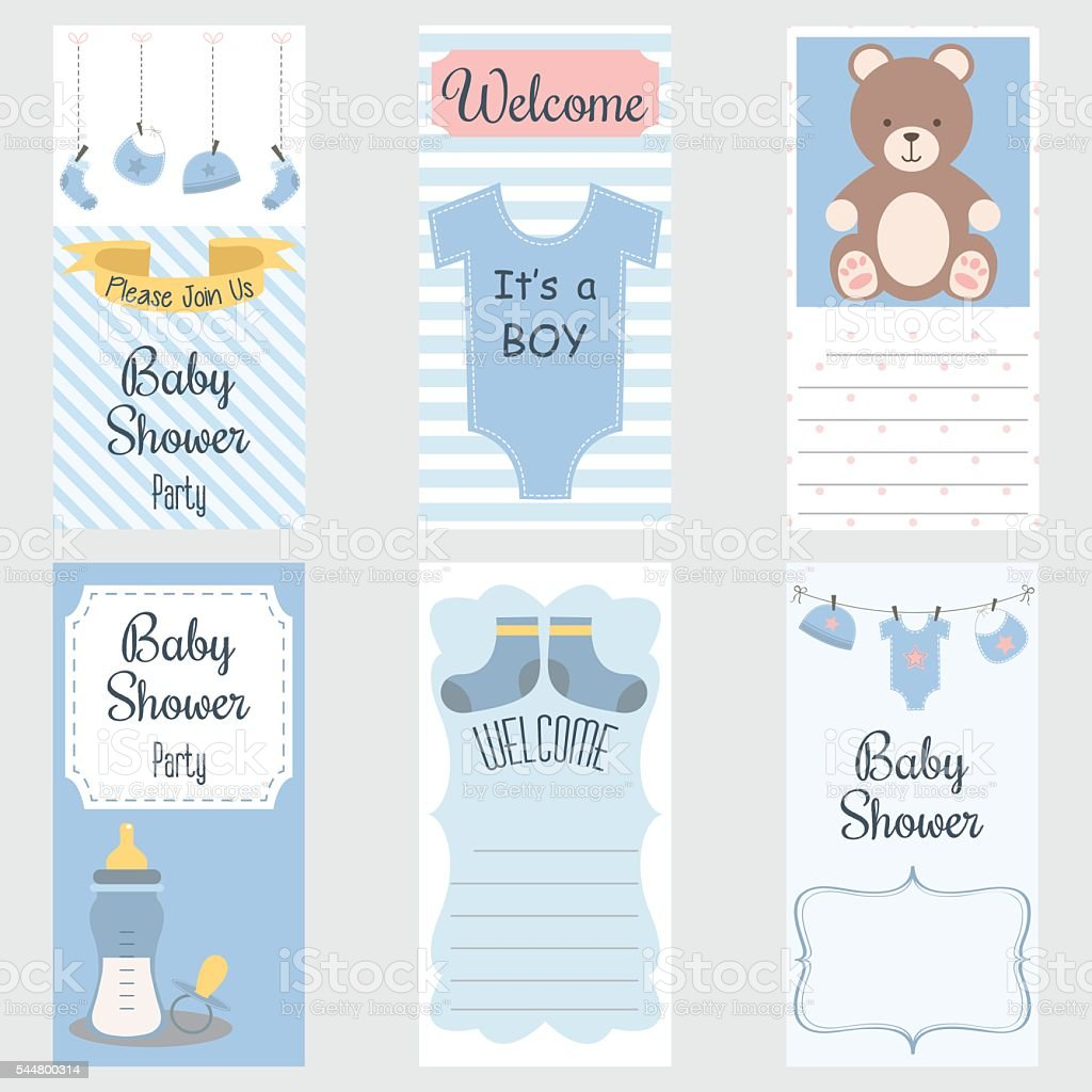 Baby Shower Invitation Card.It's a Boy.Baby Shower Greeting Card.Baby Boy Shower set vector art illustration