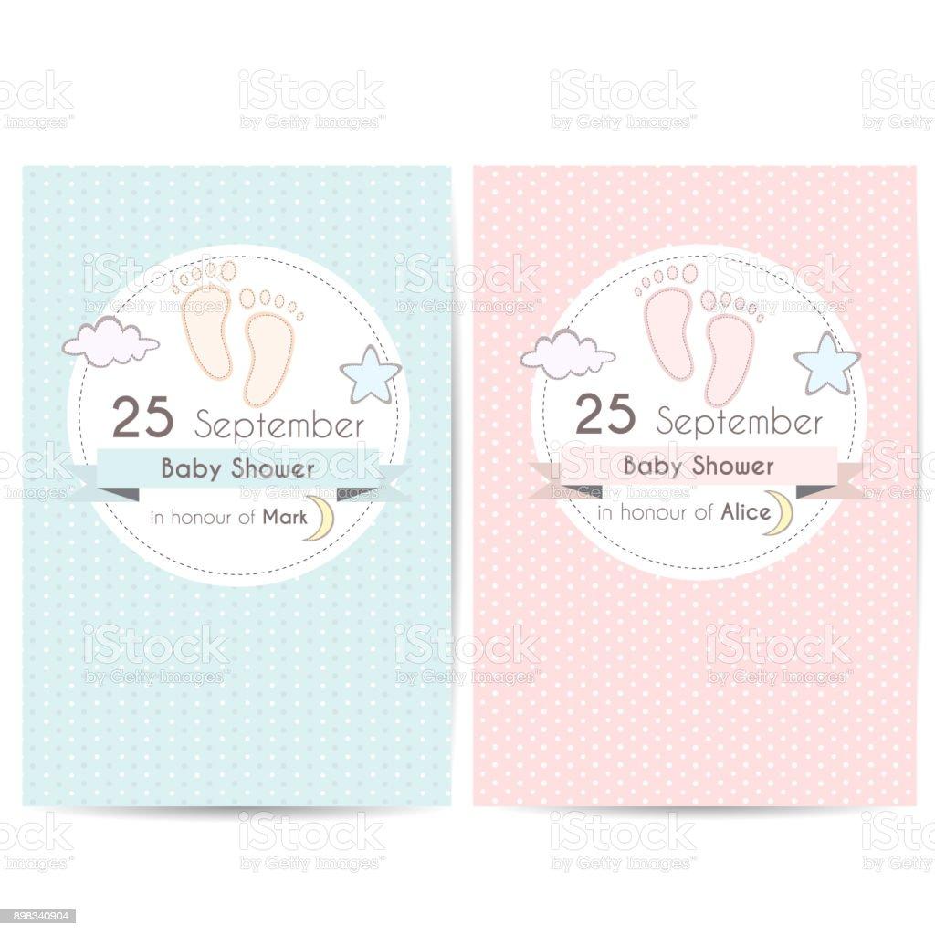 Baby shower invitation cards vector art illustration