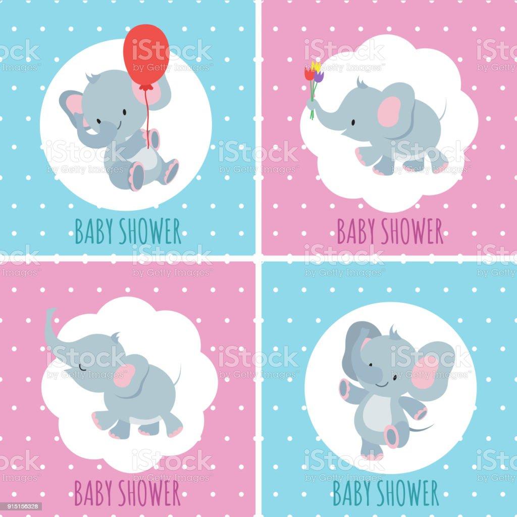 Ilustración De Set De Tarjetas De Invitación De Ducha Baby