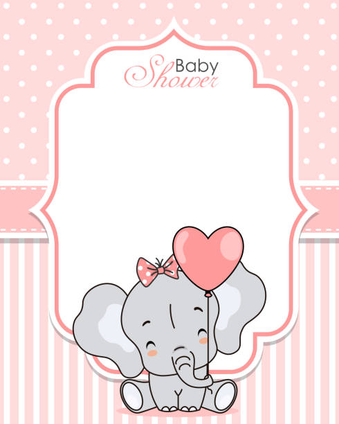 Baby shower invitation. Cute elephant with balloon. Baby shower invitation. Cute elephant with balloon. Space for text baby shower stock illustrations