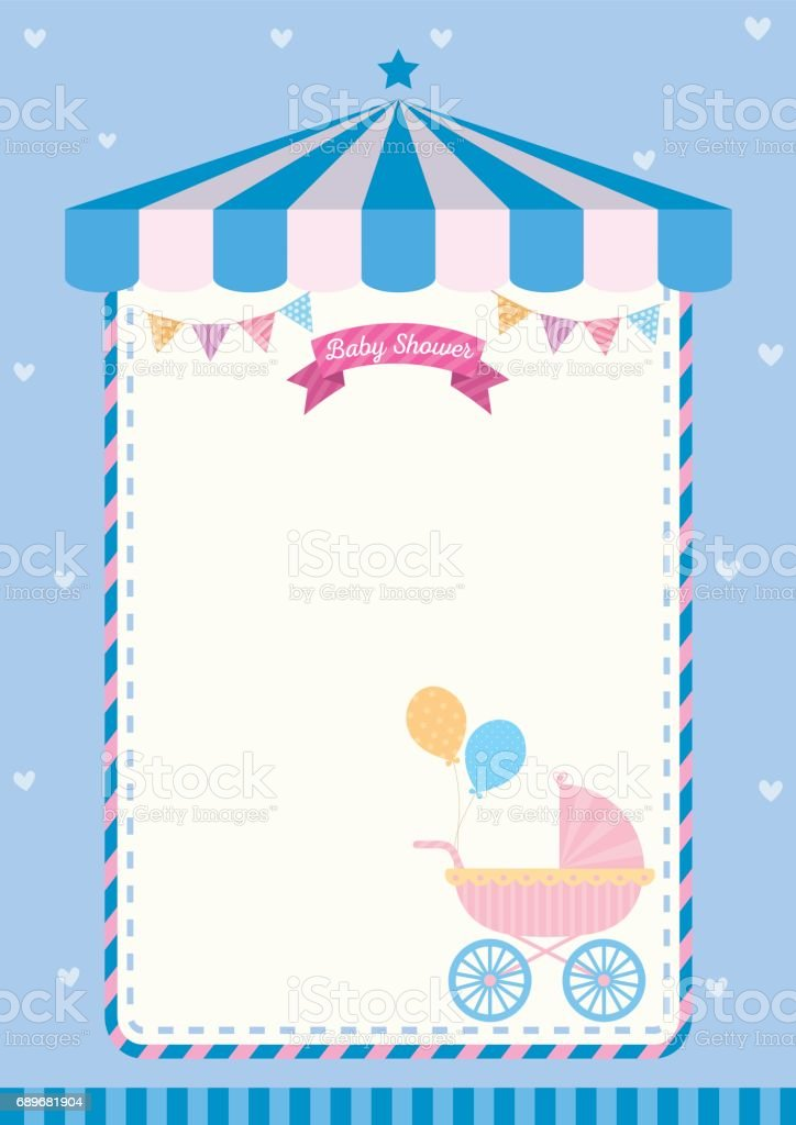 Baby Shower Invitation Cute Template Card For New Born Design With
