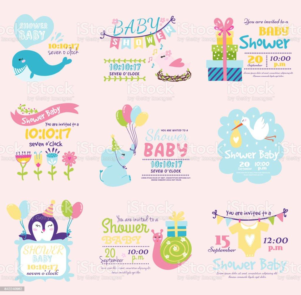 Baby Dusche Einladung Dekoration Feier Party Vorlage Vintage Stock ...
