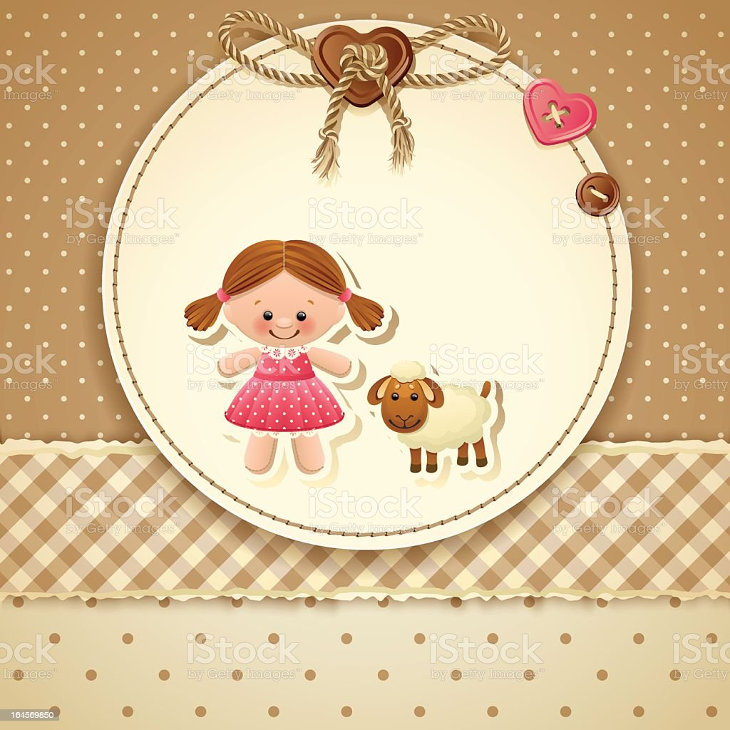 Baby Shower Invitation Depicting A Young Girl And A Lamb Stock ...