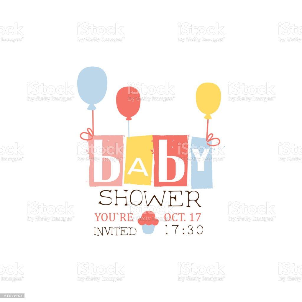 Baby Shower Invitation Design Template With Balloons Illustracion