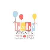 Baby Shower Invitation Design Template With Balloons. Calligraphic Vector Element For The Newborn Party Postcard.