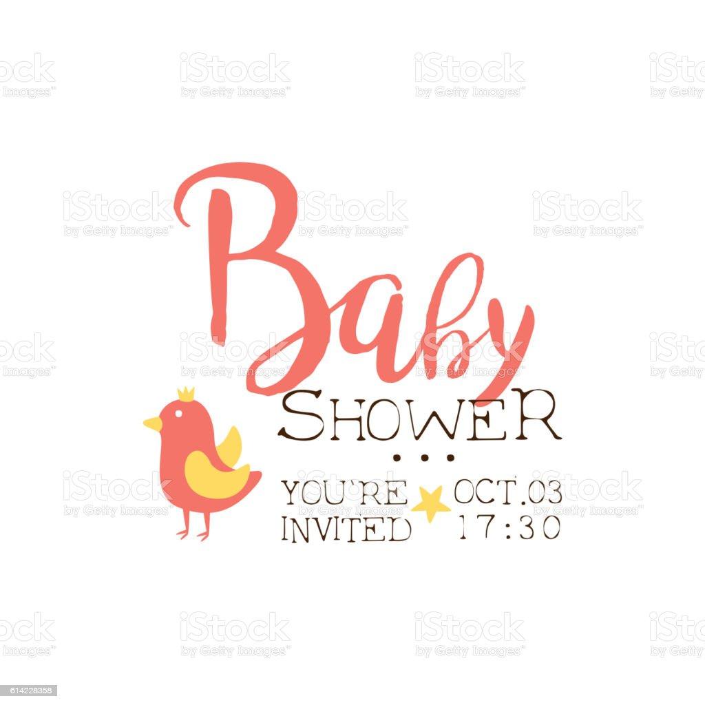 Ilustracion De Baby Shower Invitation Design Template With Bird Y